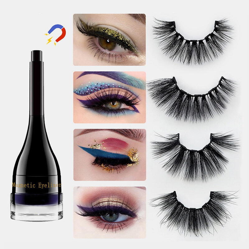 Magnetic False Eyelashes Set Color Magnetic Eyeliner Magnet Lasting Magnetic Makeup