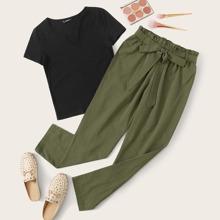 Notched Neck Top & Paperbag Waist Pants Set