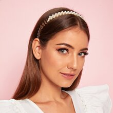 Faux Pearl Decor Hollow Out Headband
