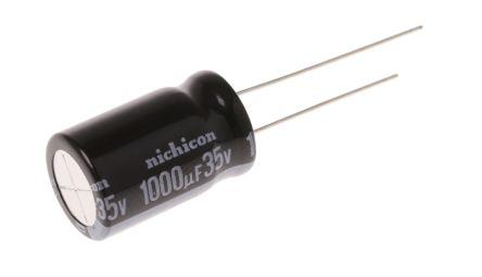 Nichicon 1000μF Electrolytic Capacitor 35V dc, Through Hole - UVY1V102MHD (5)
