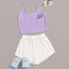 Cami Pajama Set mit Buchstaben Muster