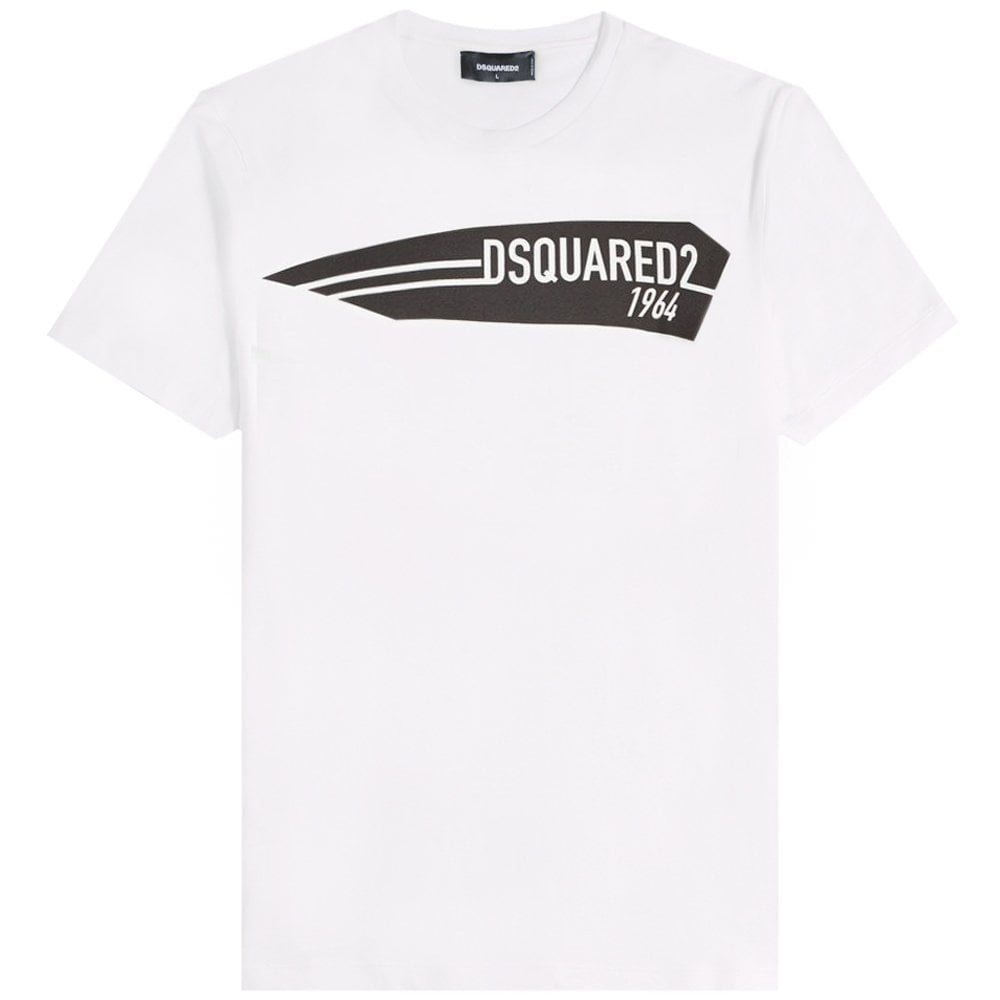 DSquared2 1964 Printed Logo T-Shirt Colour: WHITE, Size: EXTRA LARGE