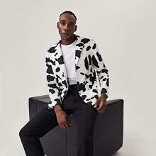 Men Patch Pocket Cow Print Blazer