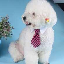 1pc Dog Shirt Collar Decor Striped Necktie