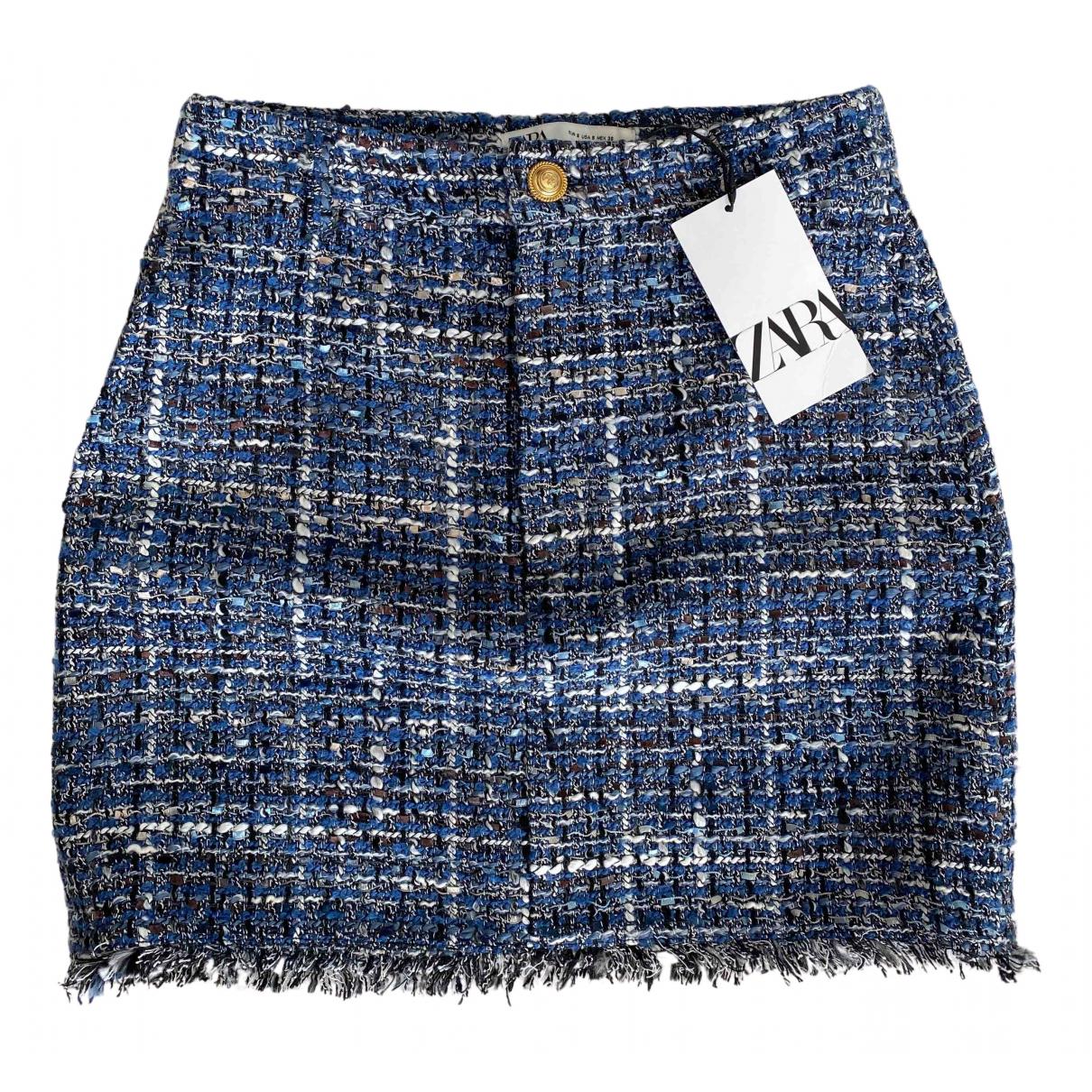 Zara - Jupe   pour femme en coton - bleu