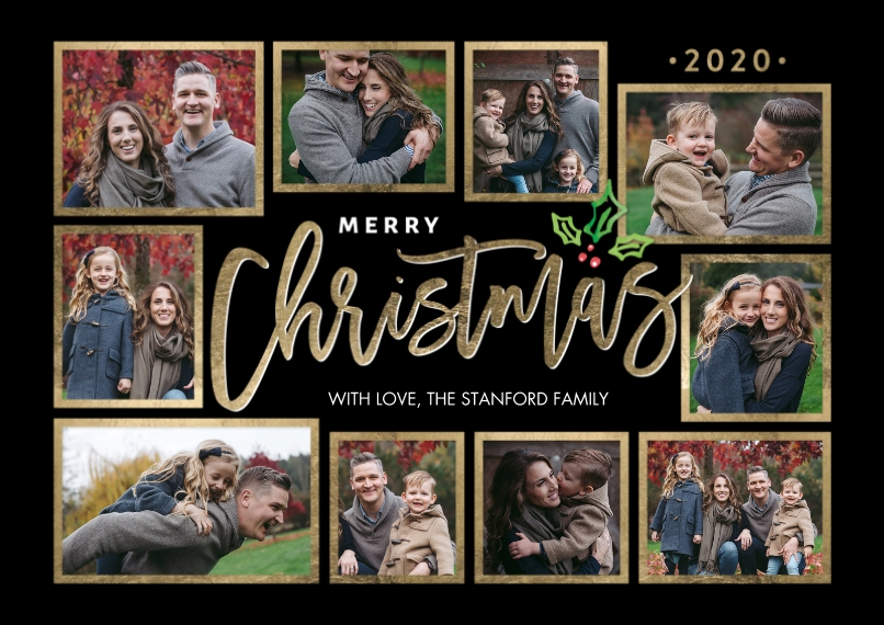Christmas Photo Cards 5x7 Cards, Premium Cardstock 120lb, Card & Stationery -Christmas 2020 Frames Collage by Tumbalina