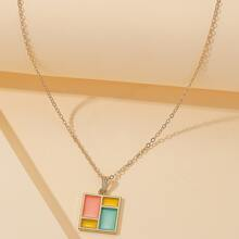 Colorblock Square Pendant Necklace
