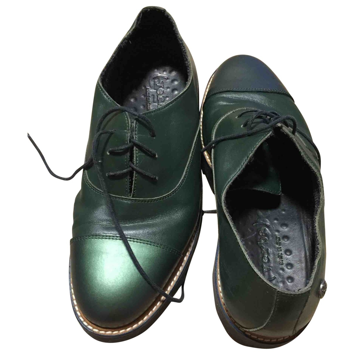 Non Signé / Unsigned \N Green Leather Flats for Men 40.5 EU
