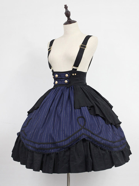 Milanoo Classic Lolita Dress Neverland Morning Star Idol Academy SK Mahogany Stripe Lolita Skirt Original Design