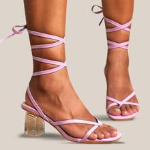 Toe Post Tie Leg Chunky Heeled Sandals