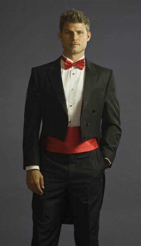 Tuxedo with Tails Center Vented and Flat Front Pants Black
