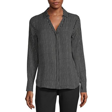 Worthington Long Sleeve Soft Blouse - Tall, Medium Tall , Black