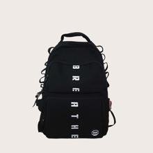 Men Letter Graphic Pocket Front Backpack