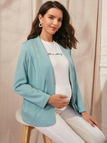 Maternity Solid Shawl Neck Flap Detail Blazer