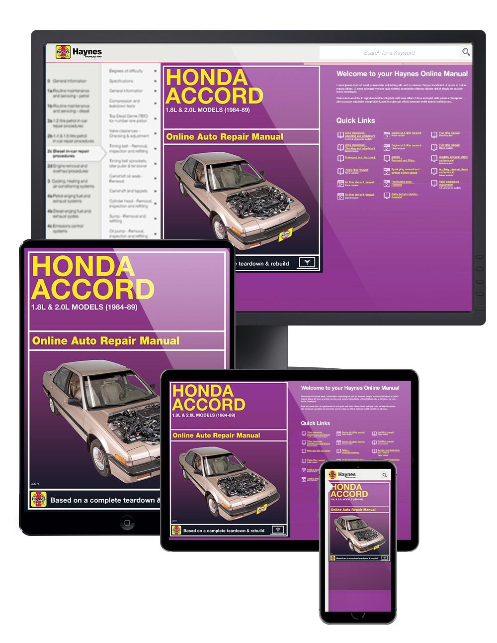 Honda Accord 1.8L & 2.0L Models (84-89) Haynes Online Manual