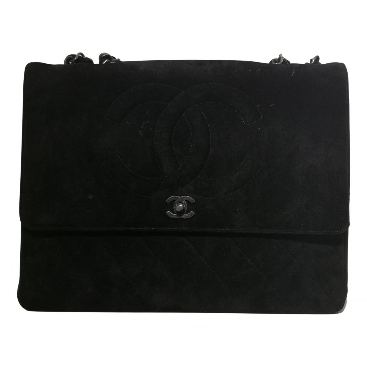 Chanel - Sac a main Timeless/Classique pour femme en suede - noir