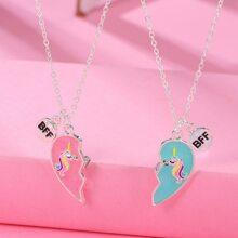 2 Stuecke Kleinkind Maedchen Halskette mit Herzen Anhaenger