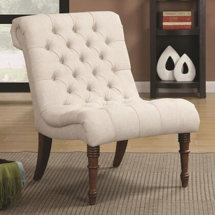 Accent Seating Collection 902176 33 Accent Chair with French Laundry Design  Rolled Back  Button Tufting Detail and Fabric Upholstery in Oatmeal