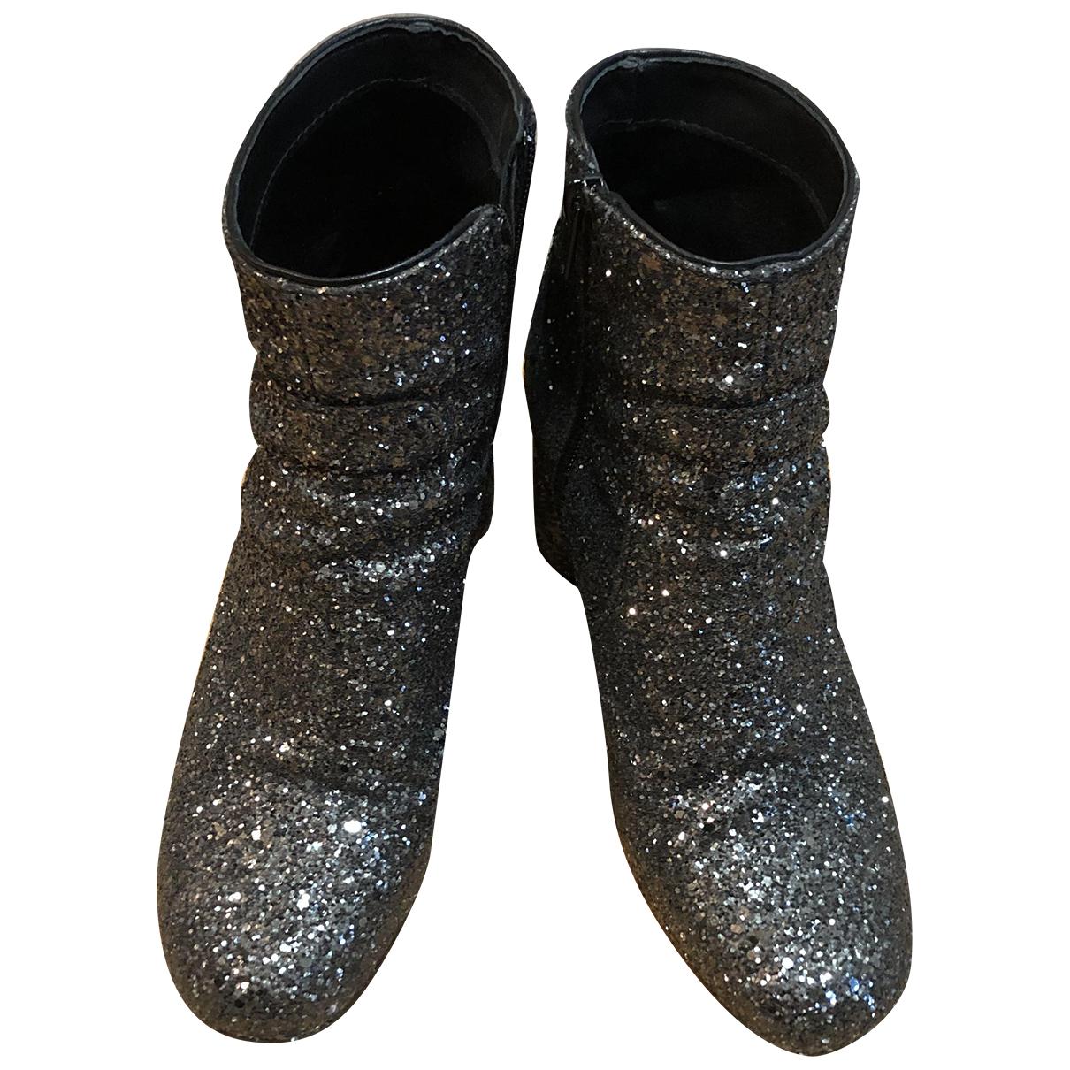 - Boots   pour femme en cuir - argente