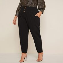 Plus Wide Waistband Button Detail Slant Pocket Pants
