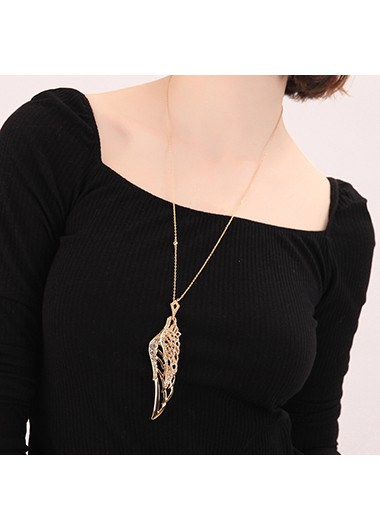 Mother's Day Gifts Gold Metal Feather Design Pierced Necklace - One Size