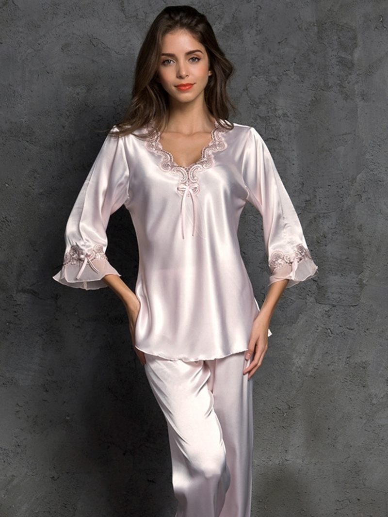 Ericdress Plain Bowknot V-Neck Women's Pajama Set