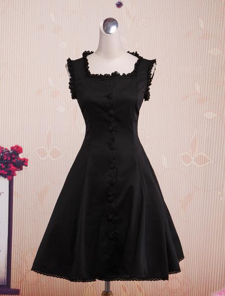 Milanoo Vestido de tirantes de algodon con escote cuadrado