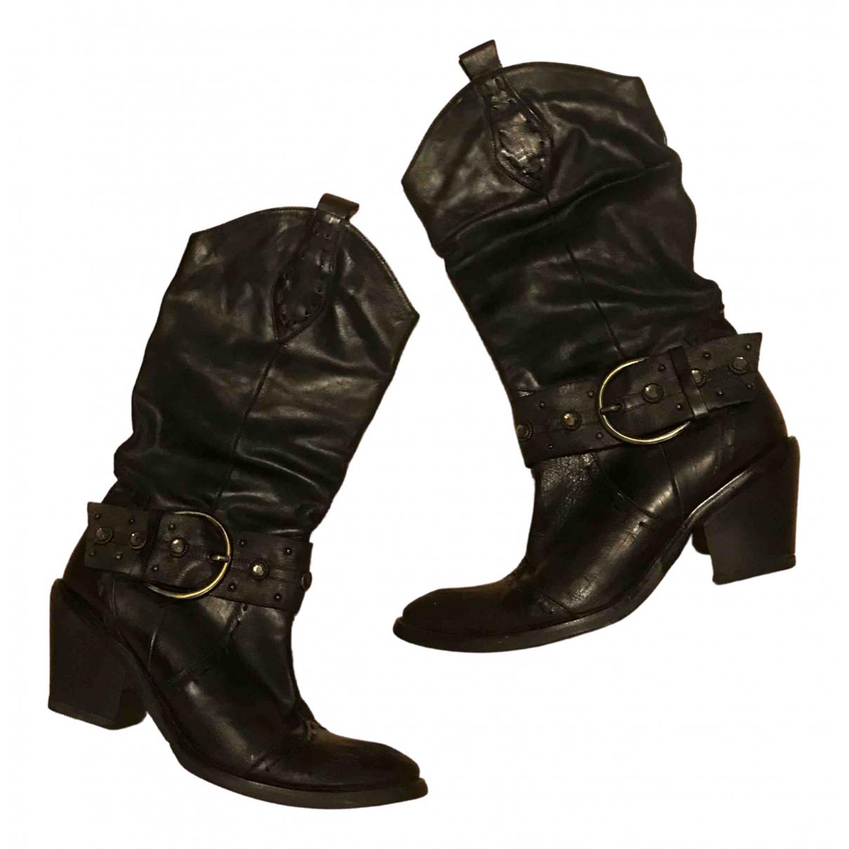 - Bottes Hippie Chic pour femme en cuir - noir