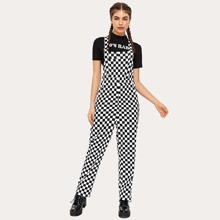 Checkerboard Print pocket Overall