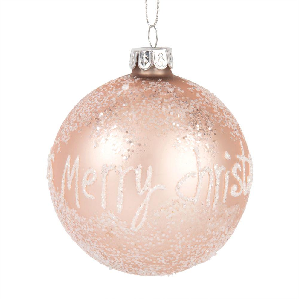 Weihnachtskugel aus rosa Glas mit Raureif