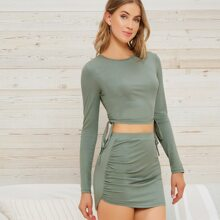 Drawstring Ruched Side Form Fitted Crop Top & Skirt Set