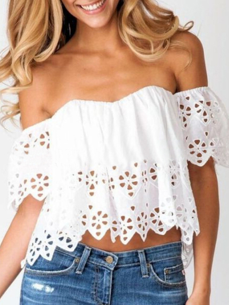Yoins White Hollow Design Off The Shoulder Short Sleeves Crop Top