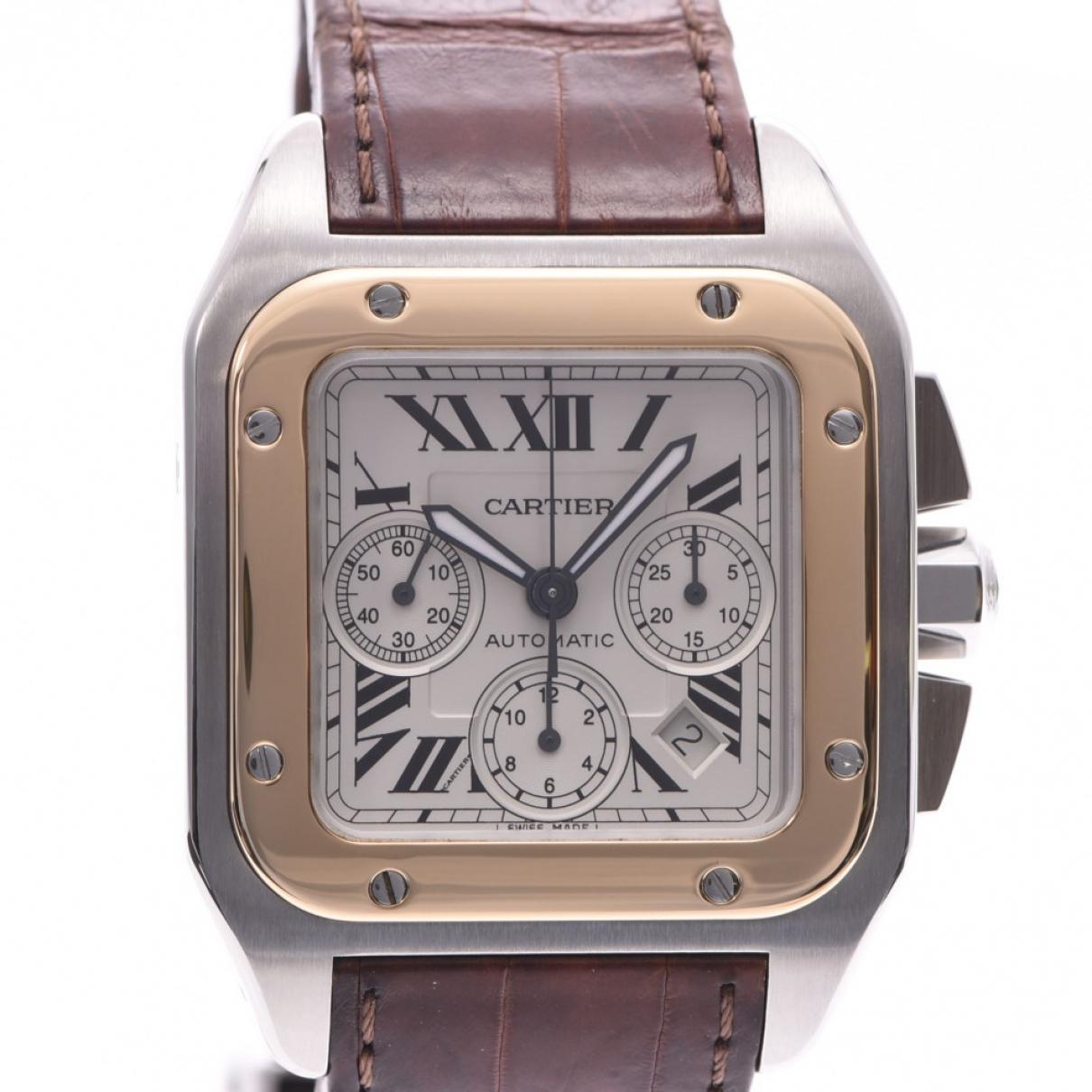 Cartier Santos 100 XL Chronographe Uhr in  Silber Gold und Stahl