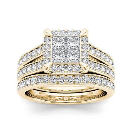 1 1/2 CT. T.W. Diamond 14K Yellow Gold Bridal Set, 8 1/2 , No Color Family