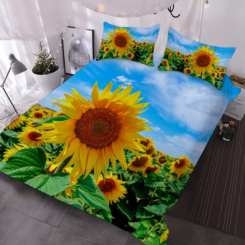 3D Sunflowers Lightweight Warm Soft Machine Washable 3Pcs Bedding Down Comforter Insert with 2 Pillow Cases