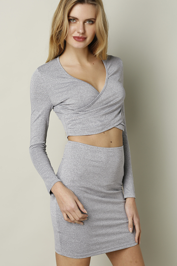 Yoins Light-grey V-neck Cross Front Hollow Sexy Suit