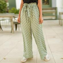 Polka Dot Paper Bag Waist Wide Leg Pants With Belt