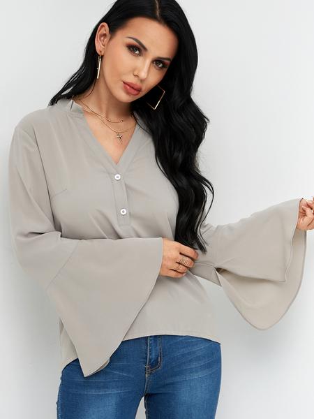 Yoins Grey Button Design Stand Collar Bell Sleeves Shirt