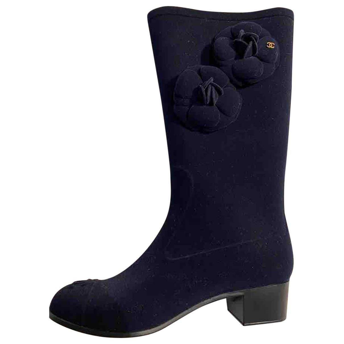 Chanel \N Stiefel in  Blau Samt