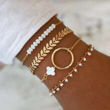 4pcs Blatt Dekor Armband