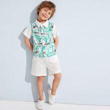 Kleinkind Jungen Hemd mit Blatt Muster, Taschen vorn & Shorts