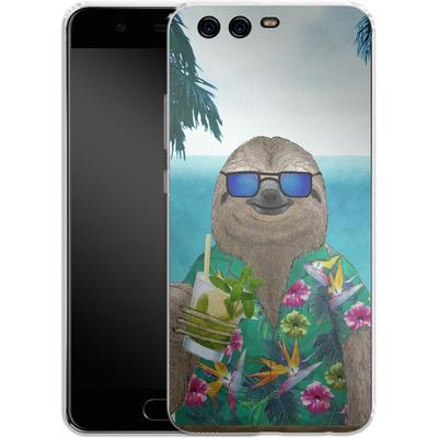 Huawei P10 Silikon Handyhuelle - Summer Sloth Drinking Mojito von Barruf