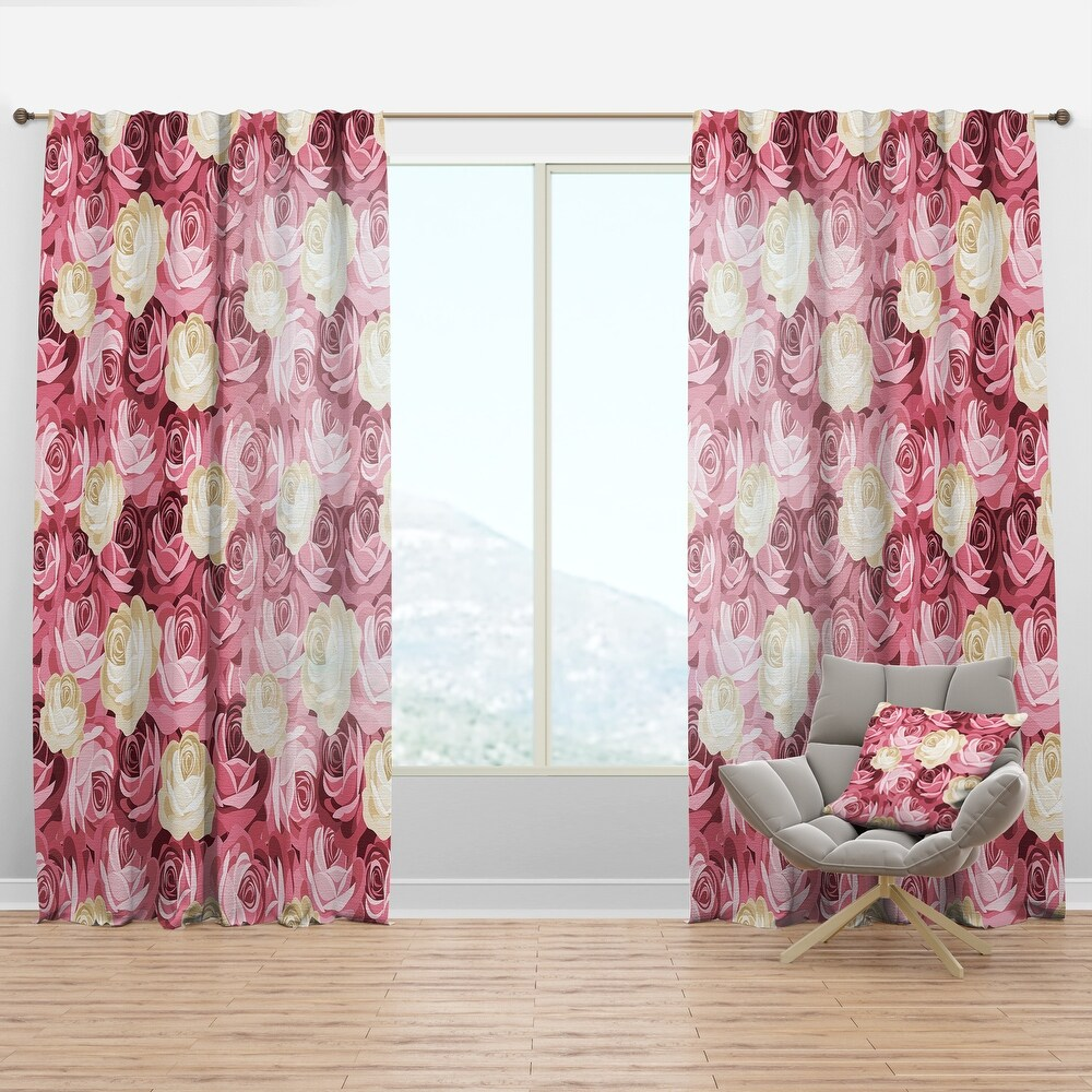 Designart 'Pink and Yellow Flowers' Floral Curtain Panel (50 in. wide x 120 in. high - 1 Panel)