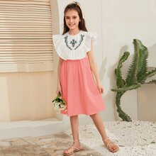 Girls Floral Embroidery Ruffle Trim Two Tone Dress