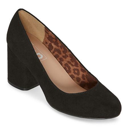 Pop Womens Laney Pumps Block Heel, 8 Medium, Black