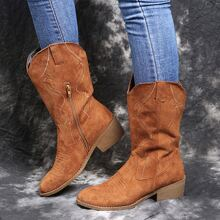 Side Zipper Embroidered Cowgirl Boots