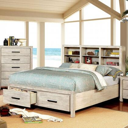 Strasburg Collection CM7384WH-CK-BED California King Size Bed with Bookcase Headboard  Low Footboard and Metal Bar Handles in Wire-Brushed