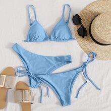 3 Stuecke Dreieckiger Co-ord Bikini Badeanzug mit seitlichem Band