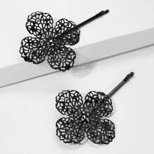 Hollow Out Flower Hairpin 1pair