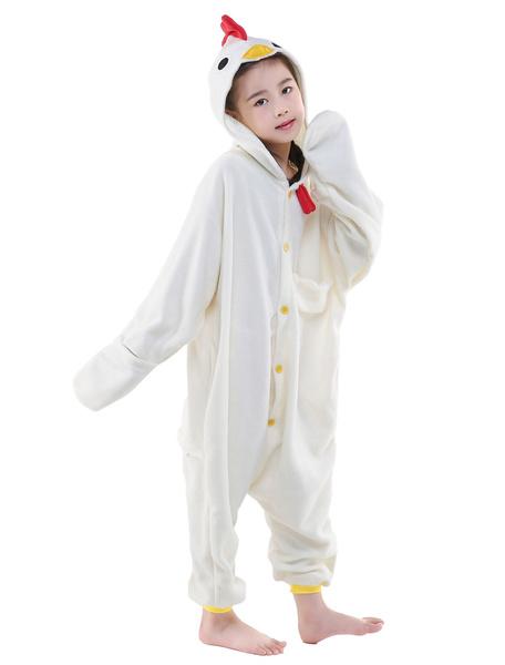 Milanoo Kigurumi Pajamas Animal Onesie kids Flannel White Chicken Winter Sleepwear Mascot Animal Costume Halloween